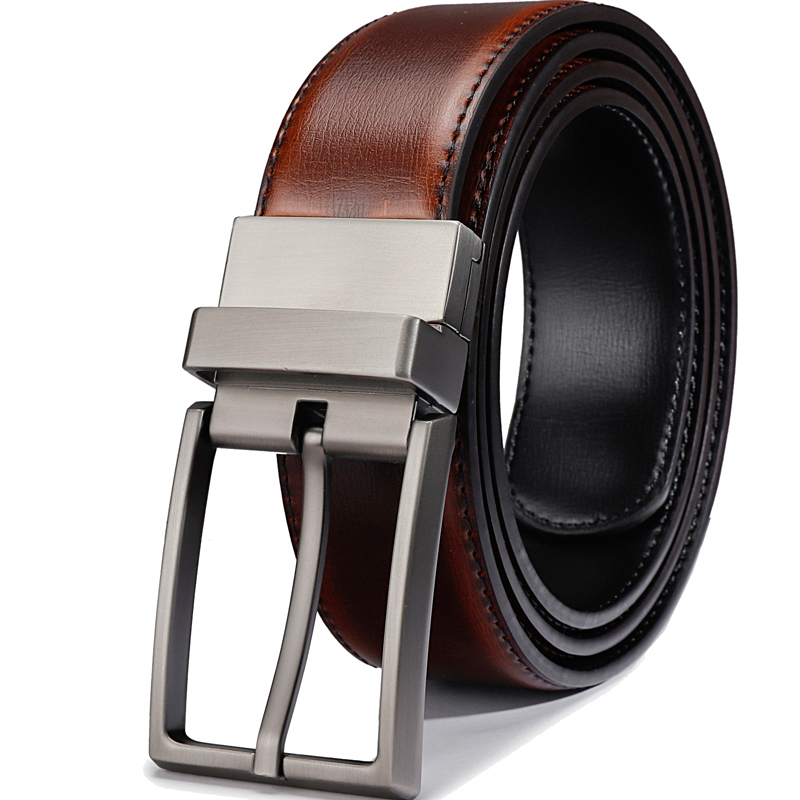 Men Reversible Buckle Belts Mens Leather Handmade Belt Fashion Cowhide Leather Men Belt Black/Brandy Big Size Designer Belt