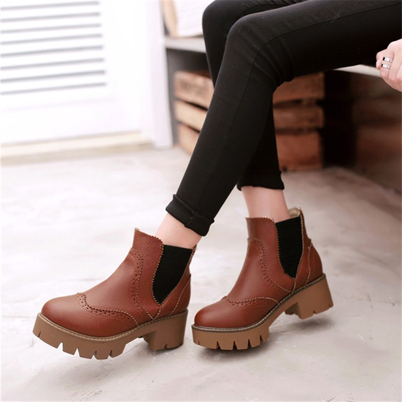Size 34-43 Winter Ankle boots Sexy Women Boots Fashion Platform punk high square heels Snow boots Female Round Toe Martin Boots fashion beige woman snow boots winter square heels round toe sexy pu winter shoes for lady high heels plus size 34 43