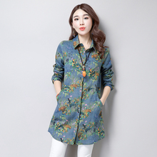 2017 spring and autumn women's loose blouses shirts female print medium-long slim all-match POLO collar long-sleeve shirt