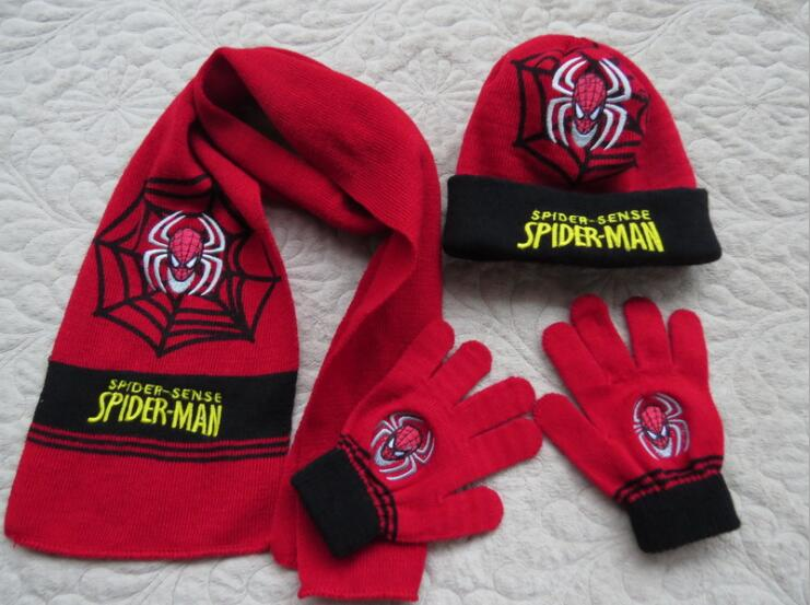 1 Set New Year Gifts Child Anime Spiderman Winter Knit Cap Scarf Gloves SM837
