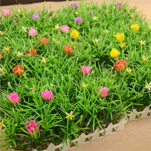 Red Flower Plastic Artificial Lawn Turf Plants Artificial Grass Lawns Garden Balcony Decoration House Ornaments