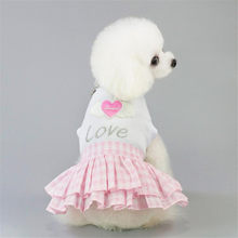 2019 Heart Pattern Dog Dress Princess Clothes Blue/Pink Dresses Summer Pet Puppy Dog Cat Skirt For Small Dogs Bichon Clothing LE(China)