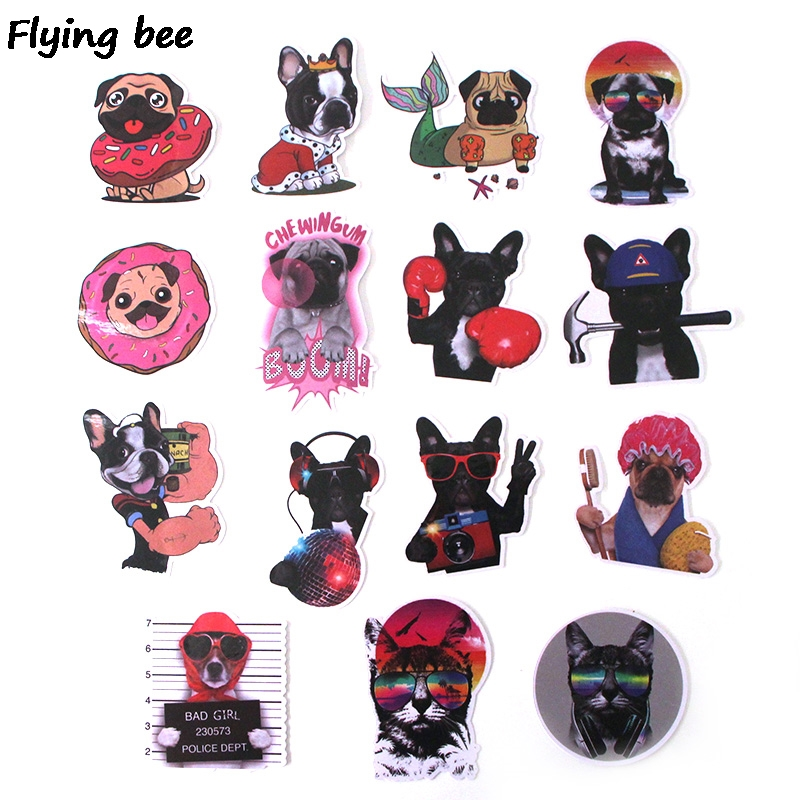 Image 2 - Flyingbee 15Pcs Bulldog Funny Waterproof Sticker Scrapbooking for phone luggage laptop guitar Graffiti Decal Pet stickers X0282-in Stickers from Consumer Electronics