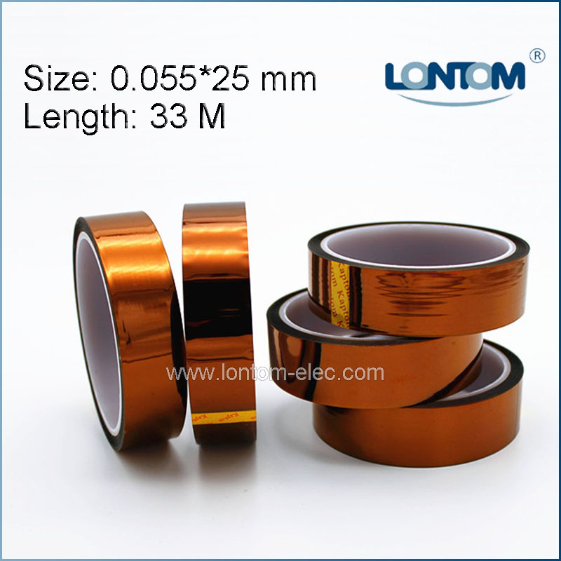 5 rolls 25mm width 33M Kapton Tape High Temperature Heat Resistant Polyimide 55mm x 33m 100ft kapton tape high temperature heat resistant polyimide fast ship