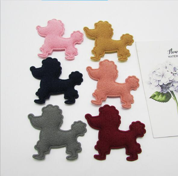 50pcs/lot 5cm Padded Furry Felt Dog Shape Appliques For Kid Headwear Accessories, Children garment Decoration