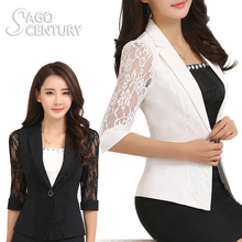 2017 Lace Summer Slim Suit Crochet Patchwork Women Short Blazer Feminino 3/4 Middle Sleeve Chaquetas Mujer Casual Suit Jacket