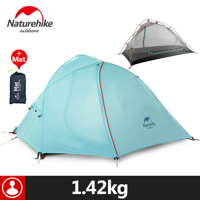Naturehike 1 Person Camping Tent With Mat   3 Season 20D Silicone 210T Polyester Fabric Double Layer Outdoor Rainproof Camp Tent naturehike 3 person camping tent 20d 210t fabric waterproof double layer one bedroom 3 season aluminum rod outdoor camp tent