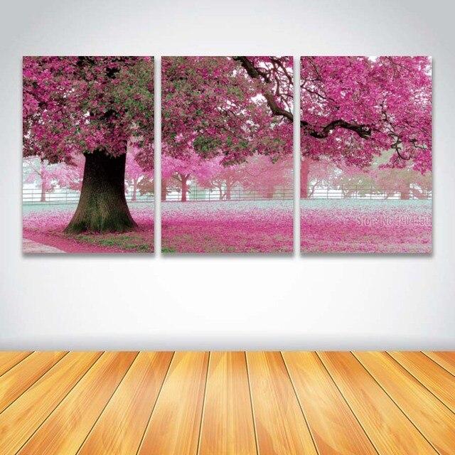 3 Panel Modern Canvas Wall Art Big Tree Flower Landscape Painting ...