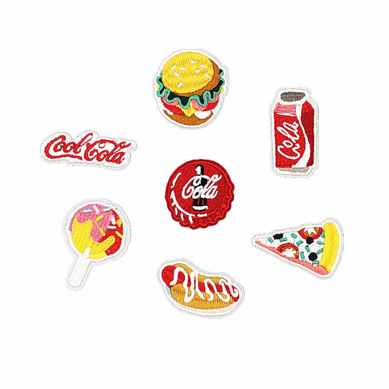 Burger Coke Pizza Cartoon Fabric Patch Embroidered Iron On Patches For Clothing DIY Decoration Clothes Stickers Applique Badge