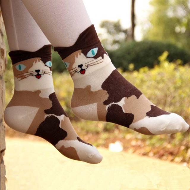 Striped Cartoon Cat Socks