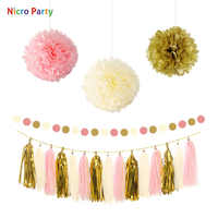 Nicro 19 pcs/set Gold Beige Pink Birthday Wedding Anniversary Baby Shower Party New DIY Decor Decoration Party Home  #Set131
