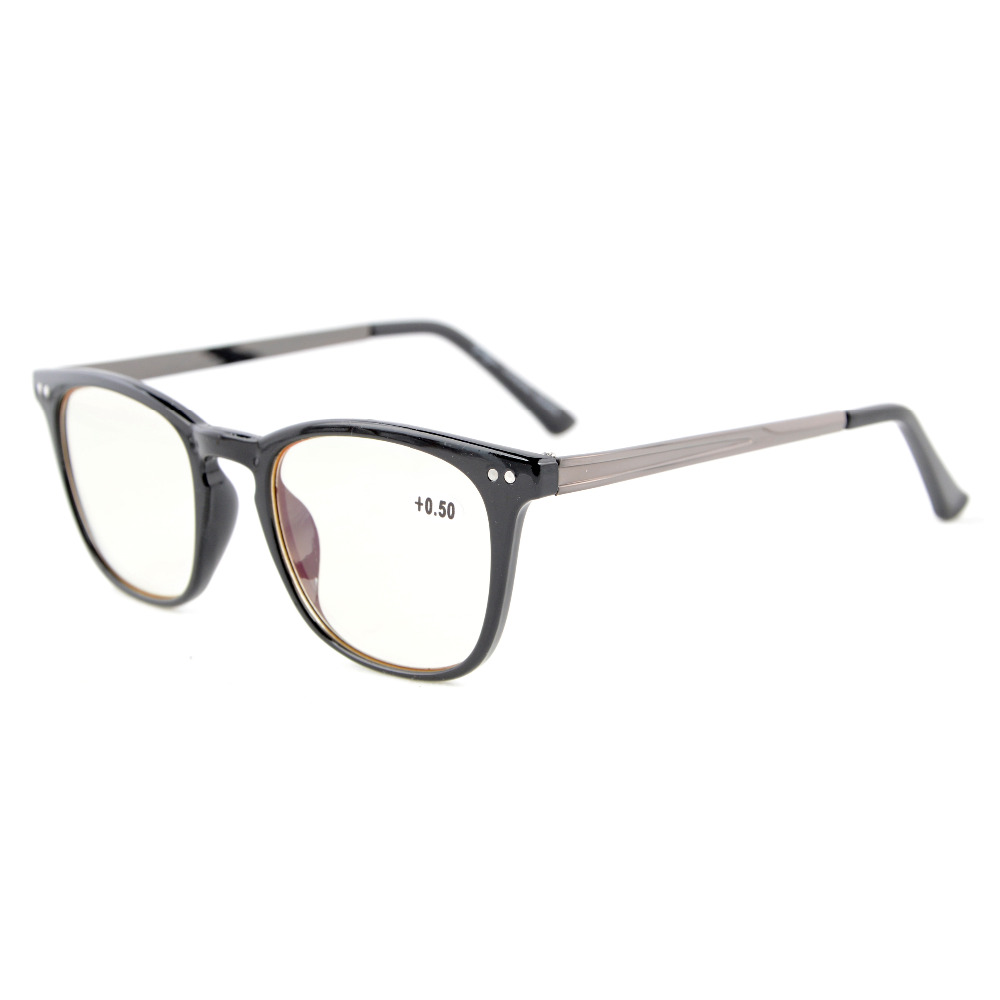 CGRJ003 Eyekepper Readers Retro Square Plastic Frame Metal Arms Computer Reading Glasses Yellow Tinted Lenses Computer Glasses