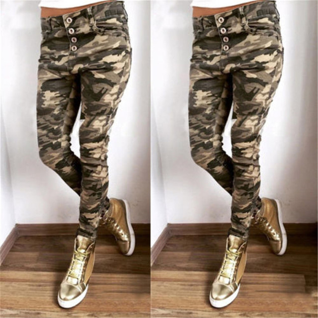Women's Military Army Camouflage Jeans Pants