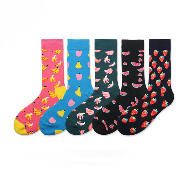 10 Pairs/lot Colorful Mens Fruit Business Crew Socks Men Women Funny Banana Watermelon Strawberry Webbing Gift Dress Socks