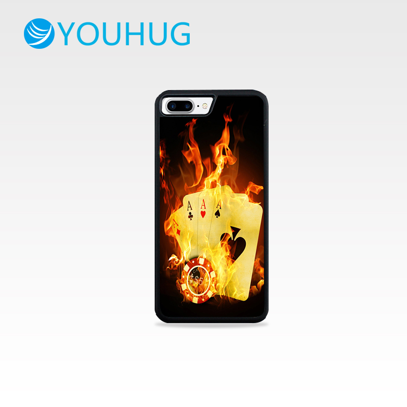 YOUHUG Flame Poker Cases for IPhone 5 5s 6 6s 6/7/8 Plus Cover Luxury Mirror TPU Silicone Case Shell for IPhone 7 Case