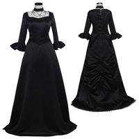 Black Gothic Lolita Dress 18th Century Rococo Dress Medieval Renaissance Ball Gown Dress Cosplay Costume