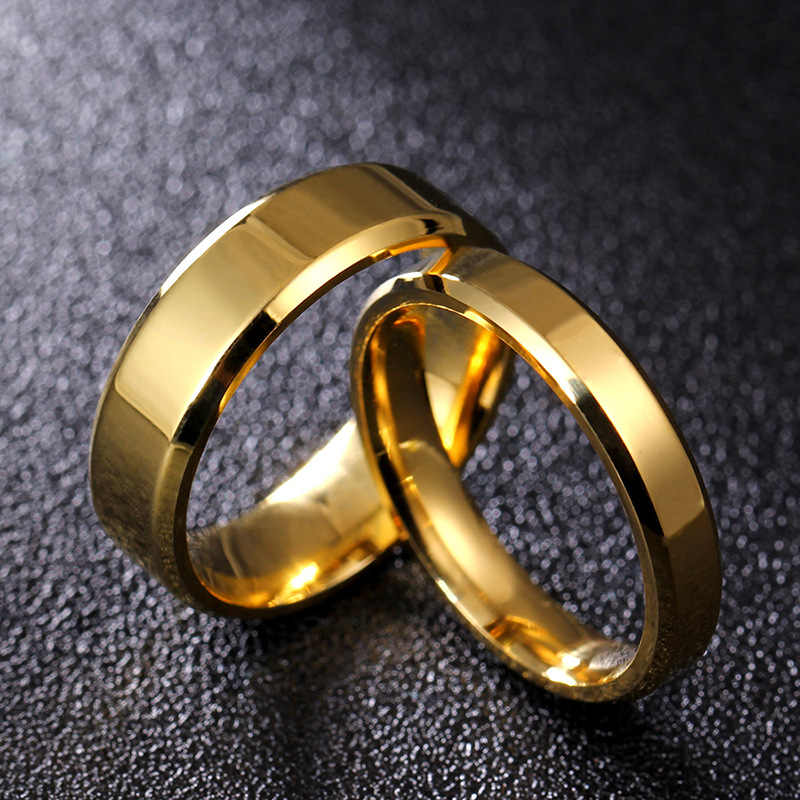 Titan Thép Không Nhẫn Nam Nhà Máy Sản Xuất Trực Tiếp Người Yêu Cặp Đôi Nhẫn cho Nữ Rộng 4/6/8 MM Bạc màu Sắc đen Nhẫn Bán Buôn