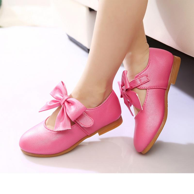 Little Girls Bow Princess Shoes Small Girl Flat Heels Sports Shoes Outdoor Walking Sneakers