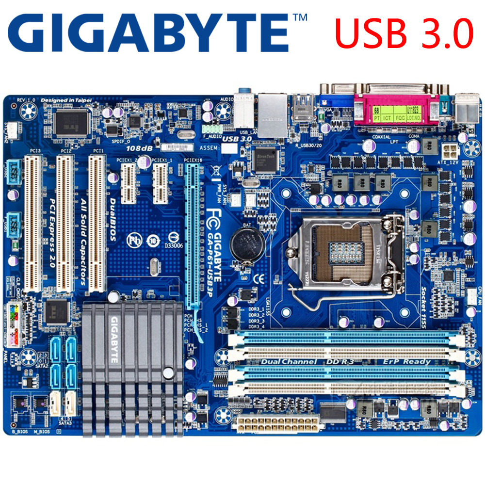 GIGABYTE GA P61 USB3P Desktop Motherboard H61 Socket LGA 1155 i3 i5 i7 DDR3  16G ATX Original P61 USB3P Used Mainboard On Sale-in Motherboards from  Computer ...