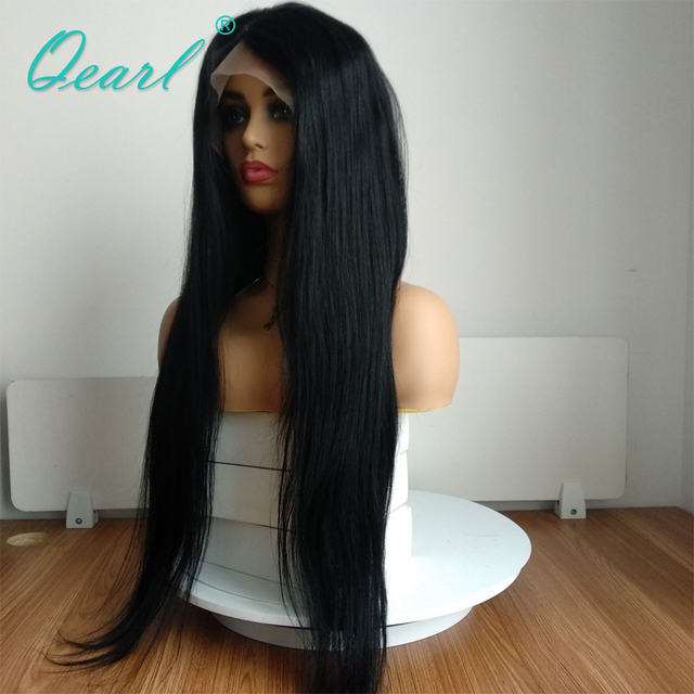 #1 Jet Black Silky Straight Full Lace Wigs Human Hair with Baby Hair 130% Remy Hair Pre Plucked Middle Part Indian hair Qearl 2