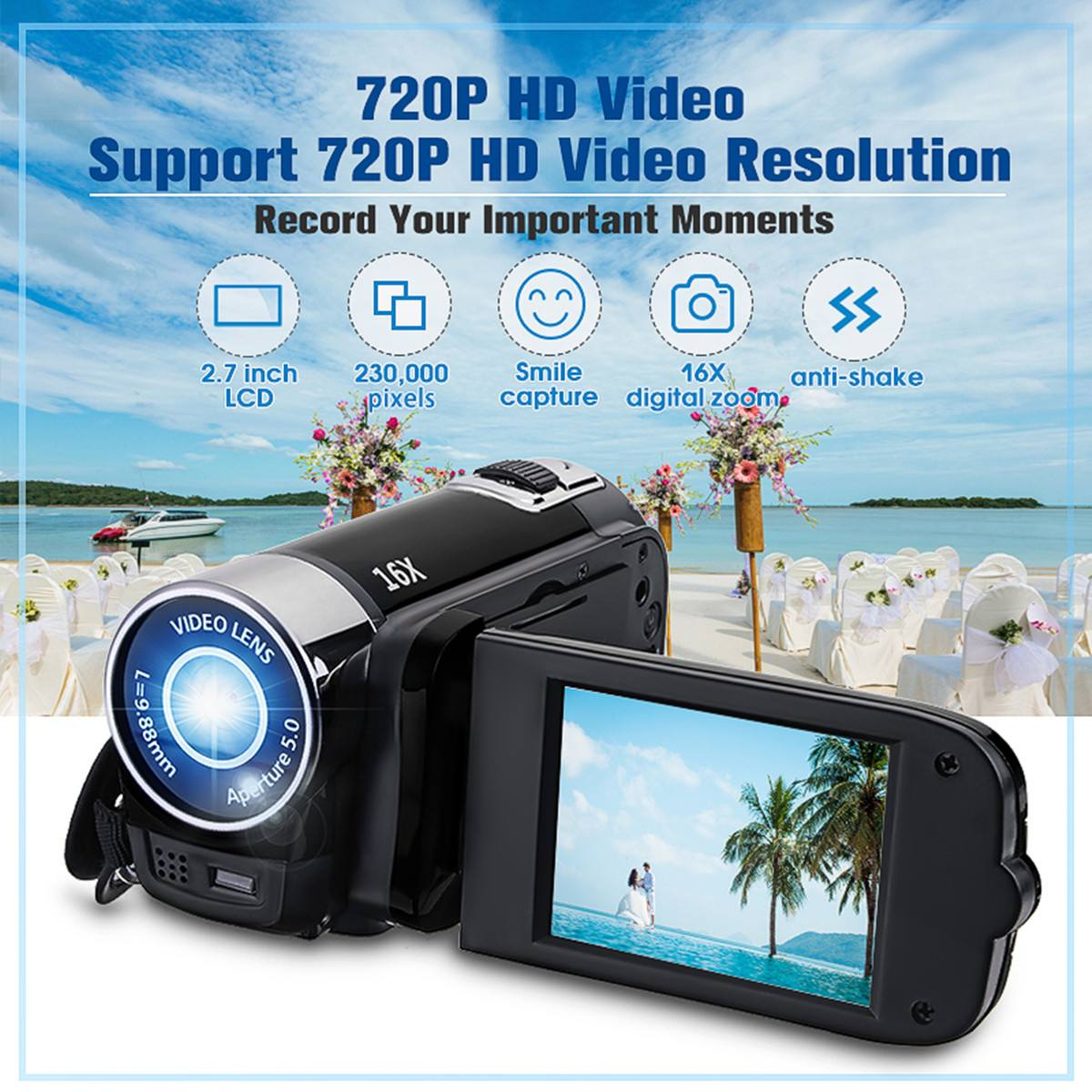 1080P HD Digital Camera Portable Videocamcoder Videocam DV for Home Use Travel Video Camcoder 270 Degrees Rotatable Screen