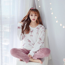 2018 New winter pajamas fleece women Flamingo set long sleeve long trousers coral fleece warm pyjamas Flannel Clip Cotton home c