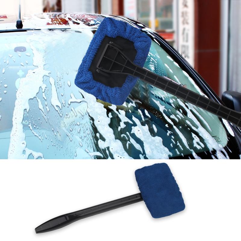 Auto Window Cleaner Windshield Windscreen Microfiber Car Wash Brush Dust Long Handle Car Cleaning Tool Car Care Glass Towel