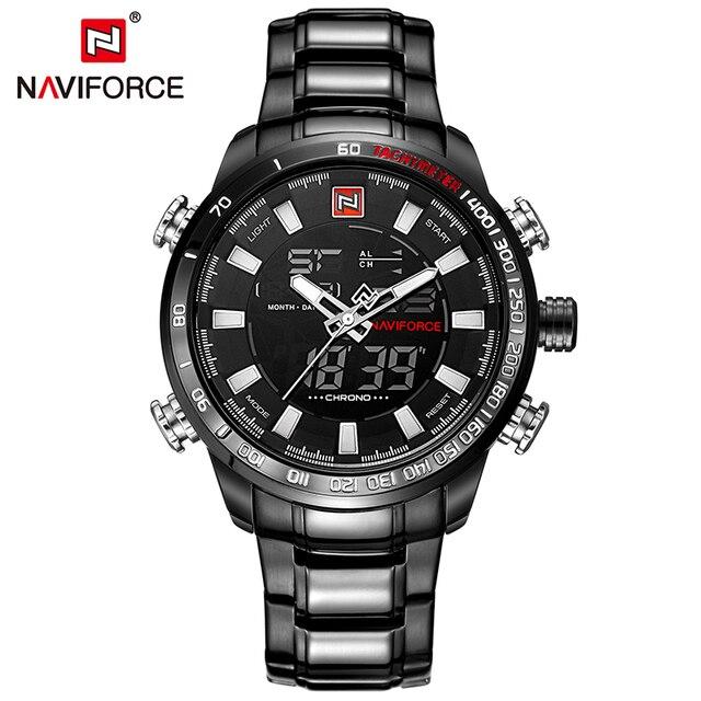 7ecfc56589b Homens De Luxo Da Marca NAVIFORCE Militar Esporte Relógios Digitais dos homens  Relógio de Aço Cheio