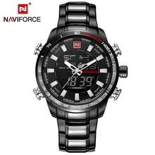 Naviforce marca de lujo de los hombres del deporte militar relojes hombres digital reloj de pulsera de cuarzo reloj de acero completo impermeable relogio masculino
