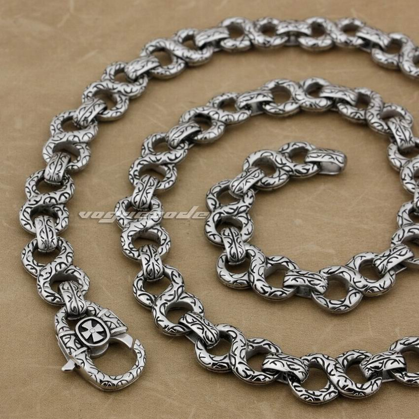 LINSION 18 36 316L Stainless Steel Mens Biker Rocker Punk Necklace Chain 4B006N