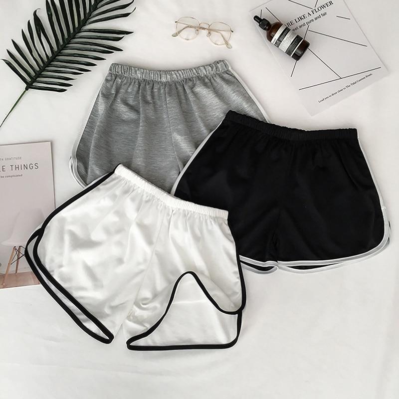 New Summer High Street Sport Yoga Shorts Women Running Fitness Shorts Solid Soft Beach Casual White Egde Shorts Hot Female