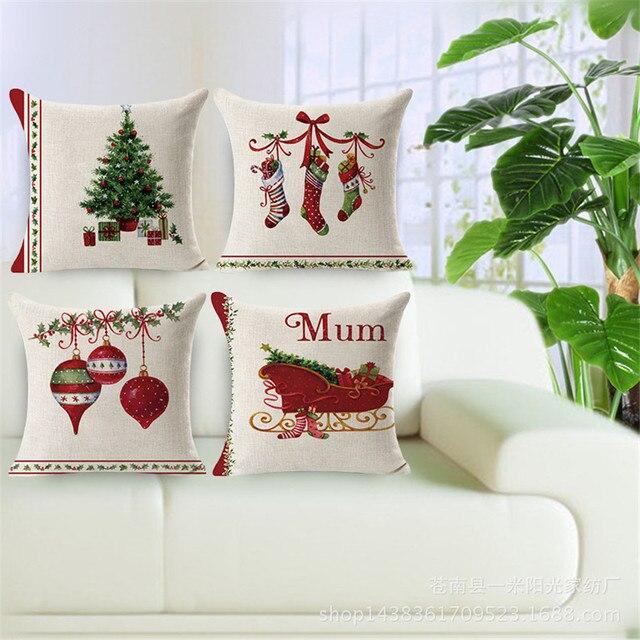 Buon Natale alberi decorativi caso cuscino di tiro di forma quadrata in cotone e