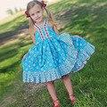 Nova Doce Desgaste das Crianças Menina Sem Mangas Floral vestido de Renda Decoração Patchwork vestido Frente Dividir Uma Linha de Vestido