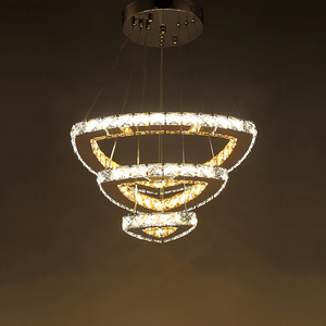 Popular Diamond Ring LED Crystal Pendant Light Modern LED Circles Hanging Lamp Foyer Dining Room Lighting Home Decoration|Pendant Lights|   -