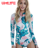 New Print Floral One Piece Swimsuit Long Sleeve Swimwear Women Bathing Suit Retro Swimsuit Vintage One