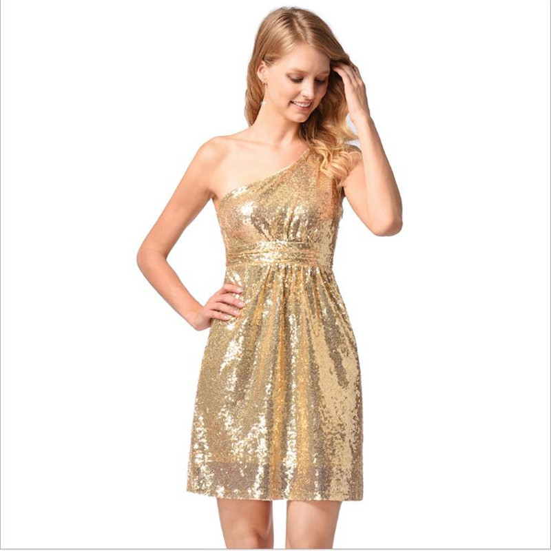 2018 Hot Selling Women Clothing Golden Fashion Sexy Sloping Shoulder Paillette Sleeveless Party Dress Women Beautiful Dresses