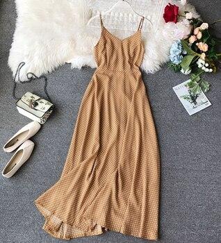 73e899bfb4c061b Женское пляжное праздничное Повседневное платье в горошек богемное длинное  летнее платье без рукавов G372