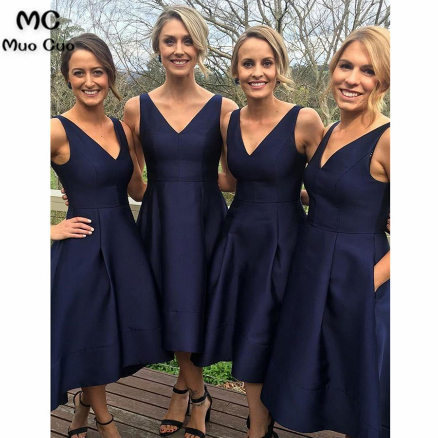 Elegant   Bridesmaid     Dresses   2018 Royer Blue V-Neck Satin Wedding Party   Dress   Robe de Soiree Hi Lo Gown   Bridesmaid     Dress