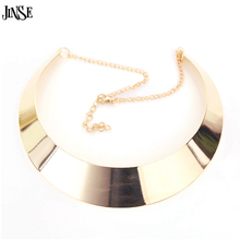 JINSE Trendy Women Necklace Hot Metal Smooth Exaggerated Punk  NEK101