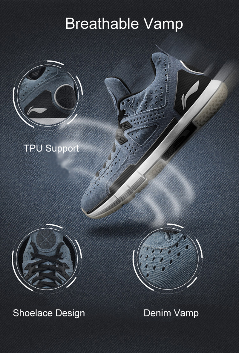 Li-Ning Men WOW 5 Denim Professional Basketball Shoes LiNing Cloud Bounse + wow5 Sneakers Way of Wade Sport Shoes ABAM057 XYL099 26