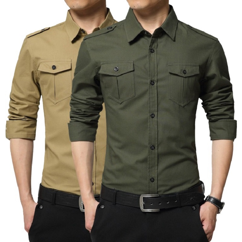 3e37729868 2016 Plus Size Military Style Casual Shirt Chemise For Men Slim Fit Shirt  Long Sleeve Cotton Cargo Shirts With Pockets 3XL 4XL