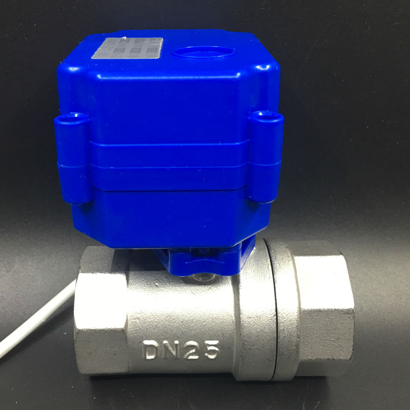 Stainless Steel BSP 1'' Actuator Valve 2 Way DN25 Electric Motorized Ball Valve DC12V 3 Wires CR02 Wiring Shipping Free CE 1 dc12v ss304 3 way l port electric ball valve dn25 2 wires motorized ball valve for water heating