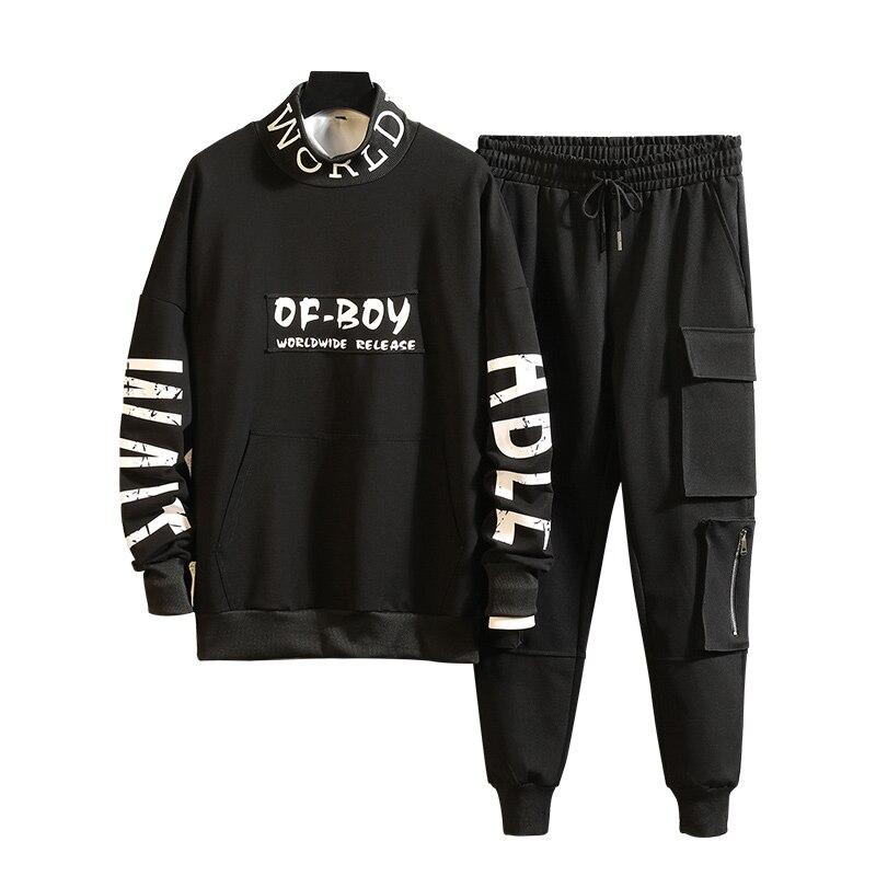 M-3XL 4XL 2019 Spring Summer Mens Tracksuit Pants Fashion Men Track Suit With Pants Harem Jogging Sweat Men Joggers Suit Sets