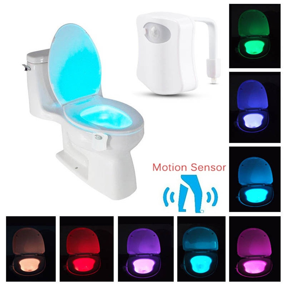 Motion Sensor LED Toilet Light Night Light Seat Lamp Luminaria 8 Color Changing Auto RGB PIR Human Waterproof For Bathroom