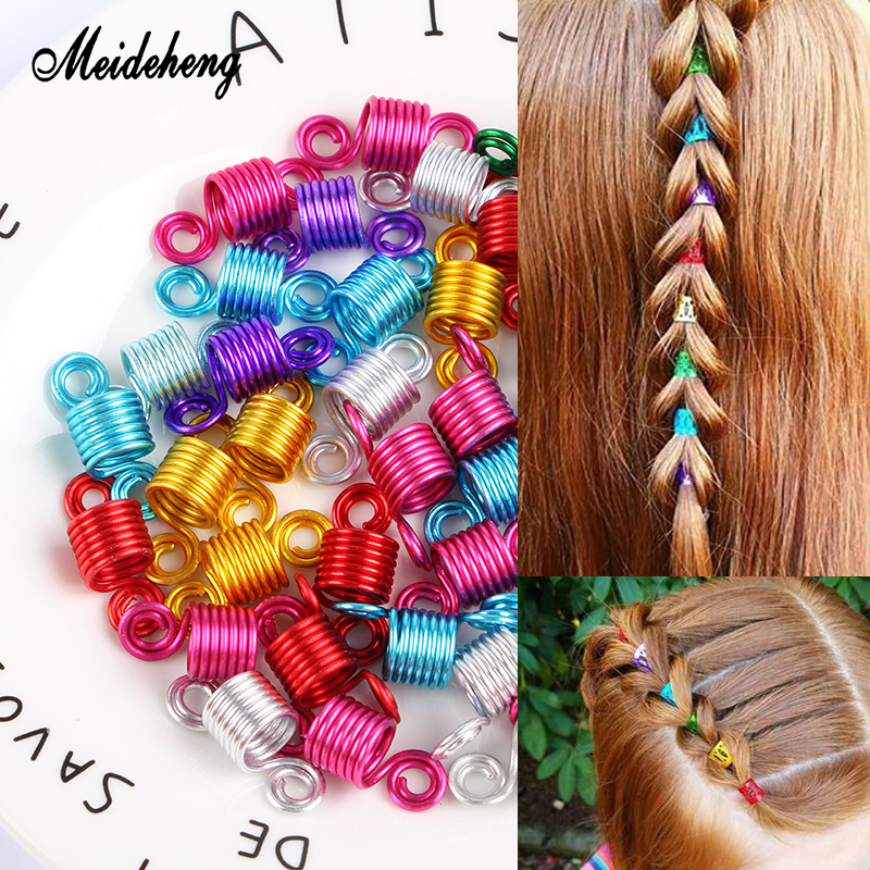 Meideheng Metal Dreadlocks Hair Ring Beads Bright Color Adjustable Spring Braid Decoration Fashion Ornaments Accessories