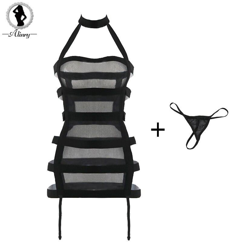 ALINRY Nouveau sexy lingerie chaude femmes bandage sous-vêtements sexy érotique lingerie robe noir maille babydoll sexy suspendus cou costumes