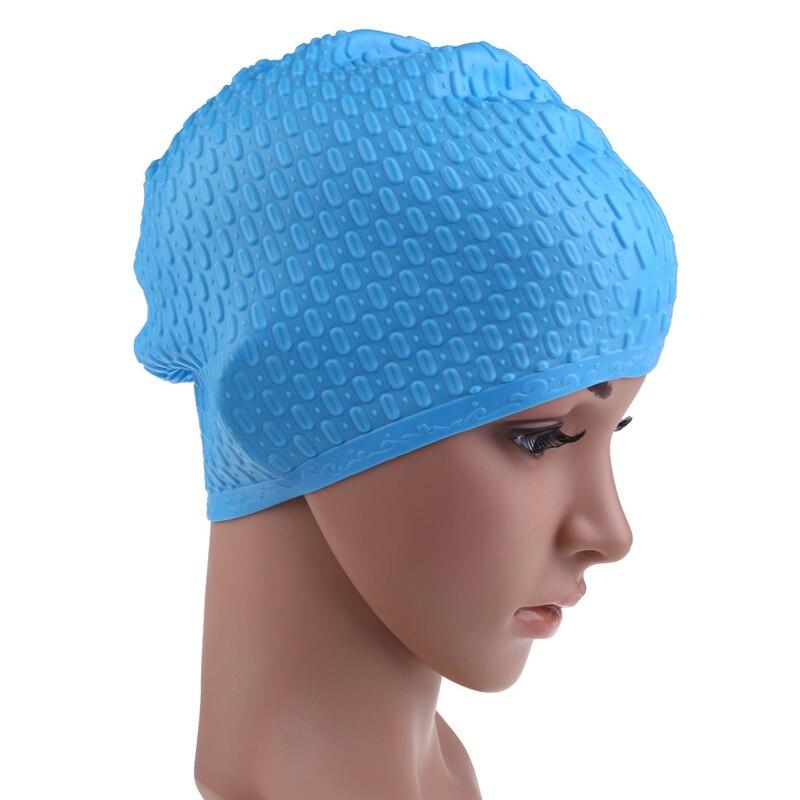 Gorra de natación de silicona Unisex Flexible impermeable adultos Waterdrop  natación cabeza cubierta proteger oreja natación gorras piscina baño tapa  ... e0cb9ea4924