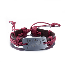 New Jewelry An arrow through the heart Alloy LOVE Leather Bracelet Women Casual Personality Vintage Punk Bracelet Red for Gifts