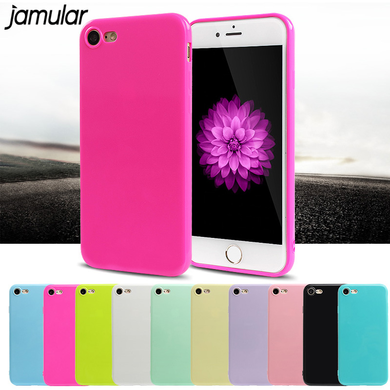 JAMULAR Candy Color Jelly Funda de silicona suave para iphone X 6 6s 7 Plus XR XS MAX 5s Funda de gel para iPhone 7 8 Plus Shell