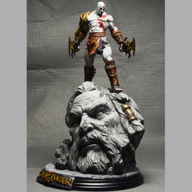 New God Of War 3 Kratos on Zeus Head GK Resin FIGURE Statue Fans Collection 26cm [resin made] 1 4 scale god of war 3 kratos resin figure statue fans action figure collectible model toy 35cm retail box wu785